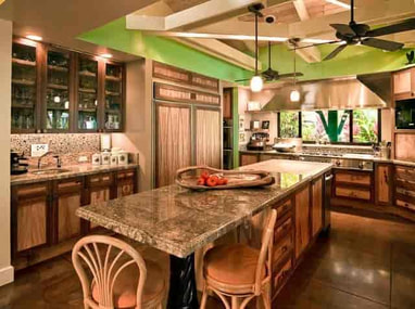 tropical kitchen with bamboo wood and airy feel